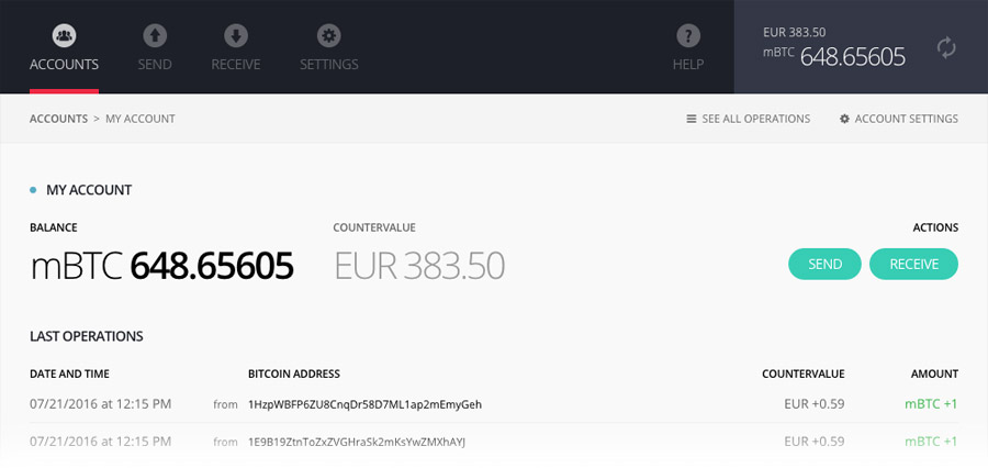 Ledger Nano S: Chrome applicatie