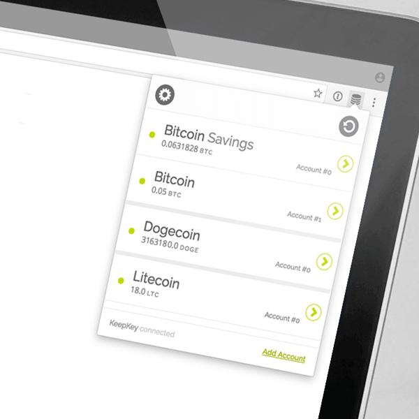 KeepKey app interface